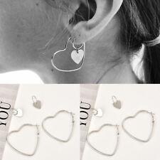 Women Heart Big Hoop Earrings Hip-Hop 925 Silver Dangle Ear Studs Jewelry 1 Pair