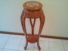 BEAUTIFUL DECORATIVE WOODEN CARVED PEDESTAL TABLE STAND WITH MARBLE TOP