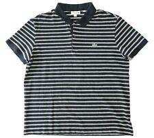 Lacoste Mens XL Navy Blue White Horizontal Striped Polo Shirt EUC