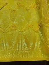Iridescent Yellow Sequin Fringe 4 Way Stretch Sequin Fabric-Prom By The Yard