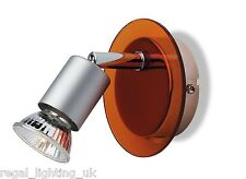 FIRSTLIGHT RAPTOR SINGLE SWITCHED SPOTLIGHT - STAINLESS STEEL AND ORANGE 5497OR
