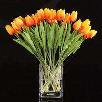 10pcs Tulip Flower Latex for Wedding Bouquet Decor (orange tulip) ED