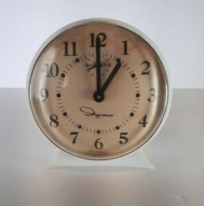 VINTAGE INGRAHAM  White Wind Up Alarm Clock PARTS ONLY