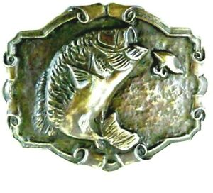 Fishing Belt Buckle Classic Vintage Limited Edition Cast Vintage Bass with Lure