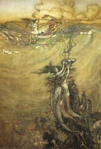 Arthur Rackham Mermaid Fishing Boat Pearl Diving Myth Poster Art Print A4