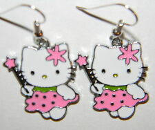 #2790 Marvelous Pink Dress Hello Kitty Fairy  Metal Charm Dangle Earrings