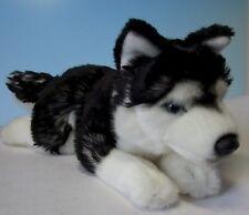 perro perro de trineo Husky Negro / W. 28 cm peluche animal de tela PELUCHE DOG