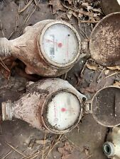 "2 vintage Rockwell Brass Water Meters 5/8"" Usa, steampunk"