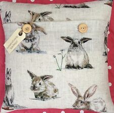 """Vintage Rabbits"" linen blend fabric cushion cover (hares)"