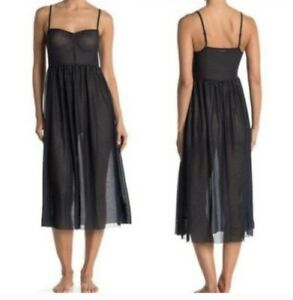 Free People Madeline Sheer Slip Dress Women's Size XS Black Multi Polka Dot NWT