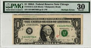 1988-A $1 One Dollar Federal Reserve Note Error PMG VF30 Multiple Errors NEAT!