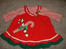 Rare Too! Baby Girls Red Candy Cane Christmas Dress Set Size 9M 9 Months Holiday