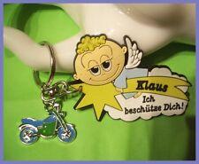 Süßer Motorrad Schutzengel Namen Schlüsselanhänger KLAUS Glücksbringer (E655)