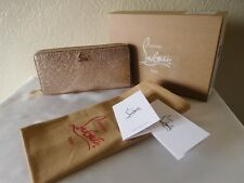 New Christian Louboutin RARE Rose/Gold Panettone Zip Around Wallet -In Box