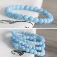 12/10/8/6/4mm Natural Blue Aquamarine Chalcedony Gemstone Round Bracelet Be P0T7