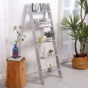 White Blanket Ladder Wooden Rustic Blanket Holder Rack Wall Leaning Shelf Stand