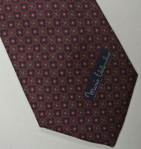 "Skinny Burgundy Blue Foulard Silk Tie 3.1"" Wide 58"" Long"