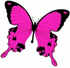 24 x CERISE PINK DETAILED BUTTERFLY EDIBLE CUPCAKE TOPPER RICE WAFER PAPER B10