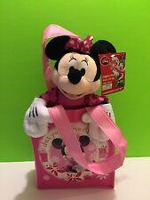Disney Minnie Mouse Christmas Plush Stuffed Animal Pink Gift Bag Set