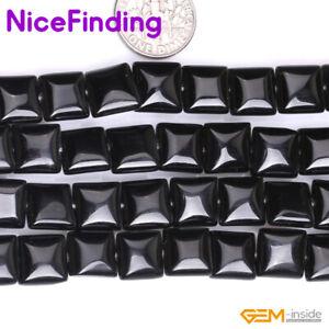 Black Agate Onyx Square Natural Gemstone Beads Jewelry Making 15'' 10mm 12mm 14m