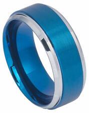 Free Engraving - Tungsten Ring Wedding Band Blue Ip Brushed Center StepEdge