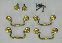 "VINTAGE 3.5"" MOUNT BRASS DRESSER DRAWER PULLS, KNOBS, SET OF 4 PULLS & 2 KNOBS"