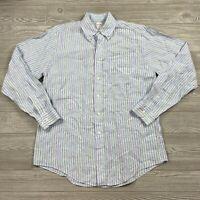 Brooks Brothers 346 Linen Shirt Mens Medium Button Long Sleeve Striped Blue U41