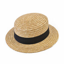 Classic Straw Boater Hat Adults Victorian Georgian Fancy Dress Costume Accessory