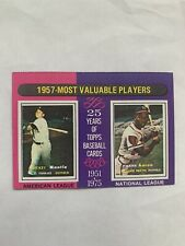 1975 Topps Mini 1957 Most Valuable Players Mickey Mantle And Hank Aaron MVP