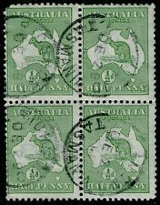 "½d GREEN KANGAROO VARIETY ~ ""BLOCK-OF-FOUR"" ~ VERY POPULAR FORMAT ~ MINOR FAULT"