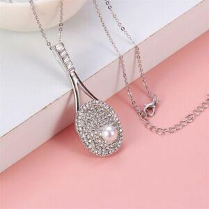 Crystal Rhinestone TENNIS RACKET Platinum Necklace Pendant Made with Swarovski