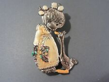 Adorable Girl with Goose Brooch