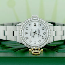 Rolex Datejust Ladies 26mm Steel Oyster Watch w/Silver Diamond Dial & Bezel