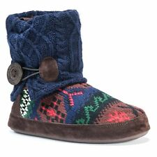 MUK LUKS Women's Patti Slipper, Blue/Brown Small 5.5 US