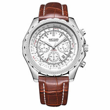 Megir Voyager Chrono Quartz Men's Watch with Metal Strap in Silver/Brown