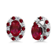 1.72 Ct Oval Red Created Ruby 925 Sterling Silver Earrings with Jackets