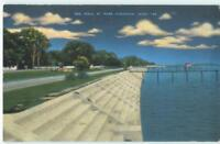 Pass Christian Mississippi Sea Wall 1940s Linen Antique Postcard 25654