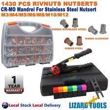 Heavy Duty Nut Rivet Rivnut Tool Kit Nutsert Gun 140Pcs Nutserts M3-M12