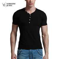 Men's V Neck Tee Shirt Slim Fit Short Sleeve Solid Color Button Casual T-Shirt