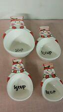 Set of 4 SNOWMAN Snowmen Ceramic MEASURING CUPS Nesting Holiday Christmas