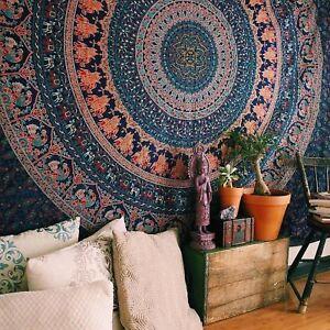 Indian Mandala Tapestry Bohemian Wall Hanging Decor Hippie Twin Bedspread Throw