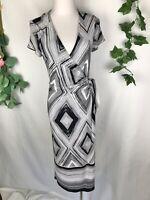 HOWARD SHOWERS Black White Stretch Short Sleeve Wrap Midi Dress - Size 12