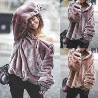 Womens Fluffy Sweater Hoodie Jumper Outwear Oversize Long Sleeve Hooded Top Warm