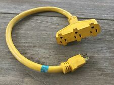 Tri-Tap, 3 way Extension Cable, Cord Adapter. Triple Outlet Plug 2ft