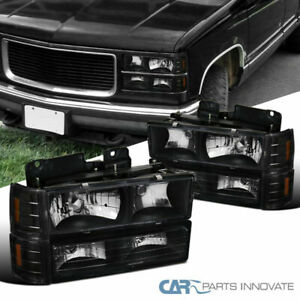 For 94-99 GMC C10 C/K 1500 2500 Yukon Sierra Black Headlights+Bumper Corner Lamp