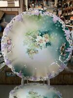 "Stunning R S Prussia ROSEBUD MOLD STEEPLE MARK Floral 10"" Handled Cake Plate!!!!"