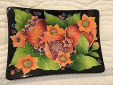 Blue Sky J McCall Rectangular Tray With Peach Orange Flowers