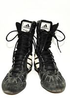 MENS ADIDAS TYGUN BOXING BOOTS BLACK AND WHITE LEATHER SIZE 7.5 UK 41.5