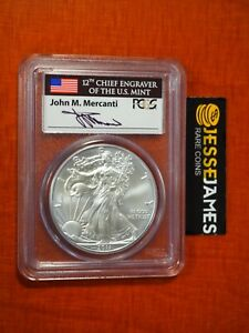 2011 SILVER EAGLE PCGS MS70 FLAG MERCANTI FIRST STRIKE FROM 25TH ANNIVERSARY SET