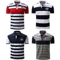 Men Polo Shirt 2017 New Men's Short Sleeve Polo Shirts Striped Cotton T Shirt